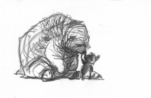"""""""Adam feels so small next to this big heavy bear. There is tenderness here."""" – Glen Keane"""