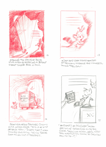 """""""These became the basis for the final pencil drawings. Composing the image to work with the text placement is important."""" – Glen Keane"""