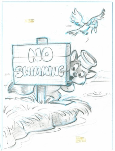 """""""Glen chose to change the 'No Swimming' to a symbol to make it more universal. Word art is challenging when translating picture books into foreign languages."""""""