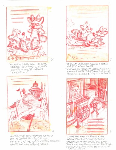 """""""In the original Race To Victory Mountain, Adam's girlfriend Lindy Lou played a major part. She was edited out in order to let Adam be the main character. My wife Linda was called 'Lindy' when she was little."""" – Glen Keane"""